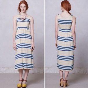 Anthro Dusen Dusen Multicolor Stripe Midi Dress